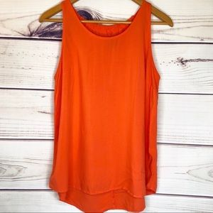 New Directions Orange-Red High Low Tank Top